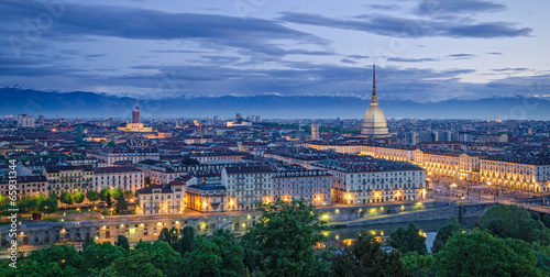 Papiers peints Europe Méditérranéenne Turin (Torino), high definition panorama at twilight