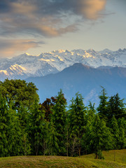 Chaukhamba mountains range at sunrise