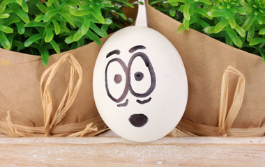 White egg with funny face near green bushes