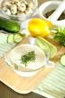 Cucumber yogurt in glass bowl,