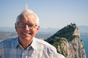 Senior man tourist at the Rock of Gibraltar