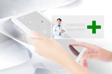 Person Using A Digital Tablet,Healtcare,Medical Concept