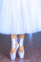 Ballerina in dance hall