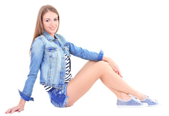 Beautiful young girl  in shorts, jacket and t-shirt isolated