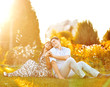 Portrait of young couple in love outdoor
