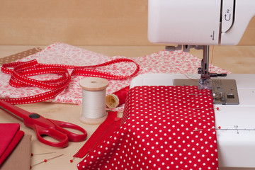 Sewing Machine. Fabric. Tailoring Hobby Accessories