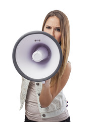 beautiful young woman shouting with a megaphone