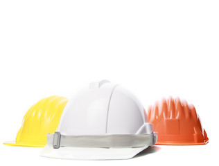 three color of safety construction protective helmet on white ba