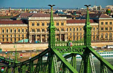 The famous Liberty Bridge in Budapest, Hungary