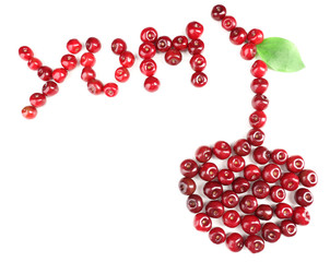 Sweet cherries in shape of berry, isolated on white