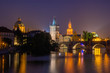The River Vltava and Charles bridge at Night, Prague