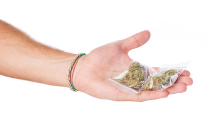 man trading marijuana isolated on a white background