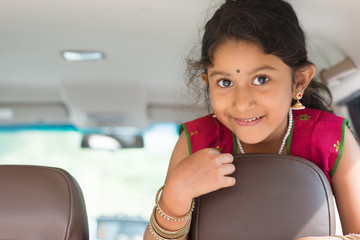 Indian girl in car