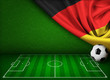 canvas print picture - Soccer or football background with flag of Germany