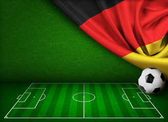 Soccer or football background with flag of Germany
