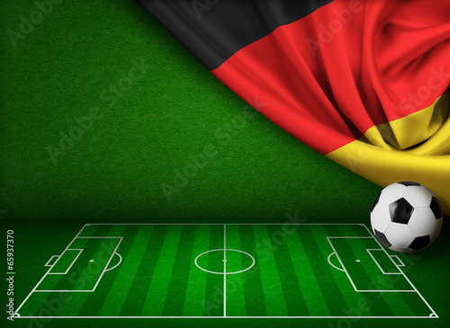 canvas print picture Soccer or football background with flag of Germany