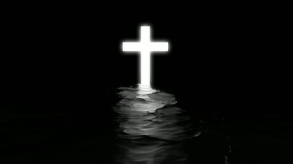 Shining cross in black water.