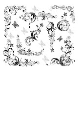 Vintage floral decorative elements (black and white)