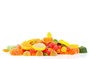 Colorful sweets and jelly isolated on a white background