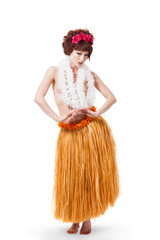 Young caucasian hula dancer moving
