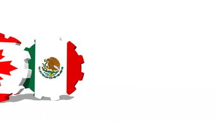 rolling gears with flags of nafta members