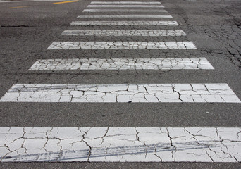 The crosswalk way in the city.