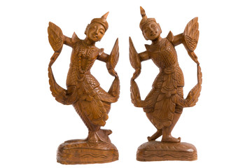 Two angel wood art in thailand