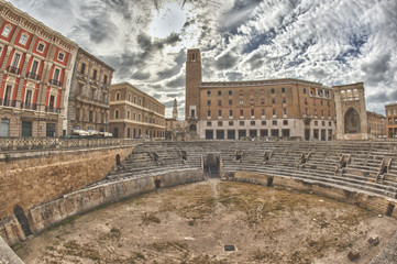 Roman Antique Amphitheater of Lecce Town, Italy