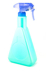 A bright blue spray bottle on white background