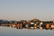Lofoten Island Norway Fjord  Village panorama at sunset