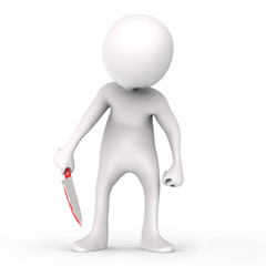 3d man with knife with blood