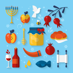 Flat icons for jewish holidays and Rosh Hashanah