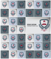 Education & Science icons badges,vector