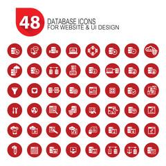 48 Database icon set,vector,clean vector