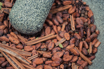 Cocoa beans, cinnamon and cardamom
