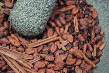 Cocoa beans, cinnamon and cardamom