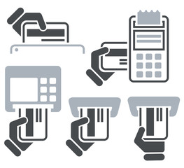 ATM, POS-Terminal and hand credit card icons