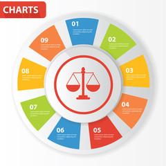 Justice info graphics,charts design,vector