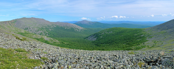 Panorama of Iov Mount, Burtym Mount and Serebryanskiy Rock