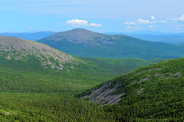 View of Burtym Mount in Northern Ural, Russia