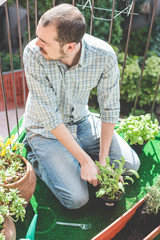 handsome stylish man gardening