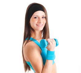 Portrait of a woman working out isolated on white