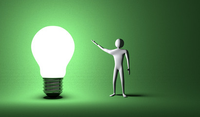 Glowing light bulb and 3d man on green