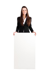 Beautiful woman showing a blank board