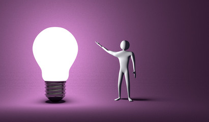 Glowing light bulb and 3d man on violet