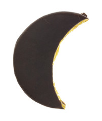 Moon shaped chocolate pie dessert on white background