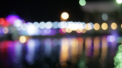 night city with colorful lanterns. bokeh