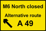 Temporary diversion route sign poster