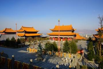 Three buddhist pagodas in Dali old city, Yunnan province, China