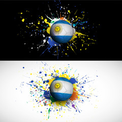 argentina flag with soccer ball dash on colorful background
